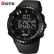 Top Brand OTS Cool Black Mens Fashion Large Face LED Digital Swimming Climbing Outdoor Man Sports Watches Christmas Boys Gift(China (Mainland))
