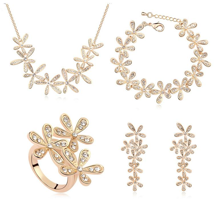 Gold Plated Jewelry Sets Made With Austrian Elements Crystal Leaf Necklace Earrings Bracelet Ring wedding accessories