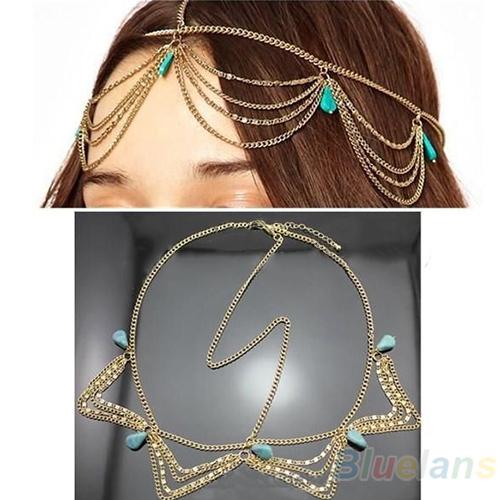 Hair Accessories Charm Gothic Bohemian Boho Hair Crown Cuff Headband Headwrap Headdress Chain 032X(China (Mainland))