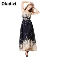 On Sale Bohemian Beach Resort Chiffon Dress New Fashion 2014 Summer Small Flora Print Plus Size Casual Maxi Long Dress with Belt