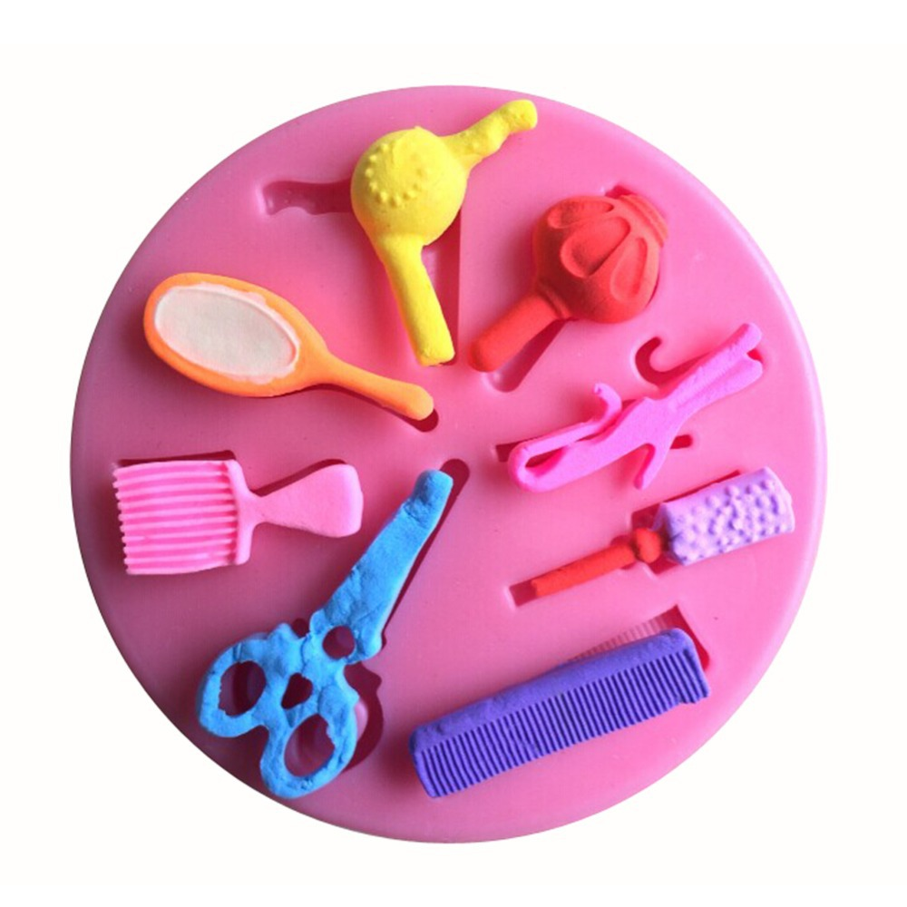 Beautiful Hair Dressing Tools Shape Silicone 3D Mold Cookware Dining Bar Non-Stick Cake Decorating Fondant Soap Mold--C255(China (Mainland))