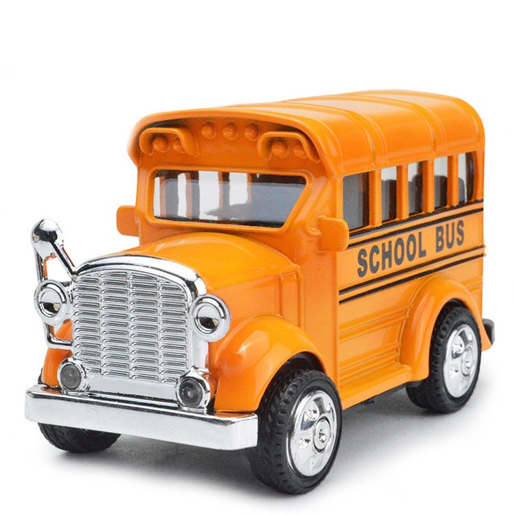 Pull-Back Action Bright Yellow School Bus with Light & Music Metal Toy Vehicles(China (Mainland))