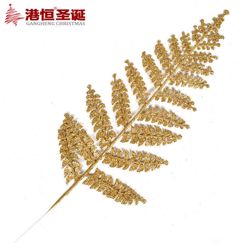 10 pcs lot christmas gold silver shining leaves for for Artificial christmas decoration tree