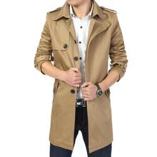 2016 Fashion outwear long coat men trench casaco masculino male clothing slim fit plus size Free shipping(China (Mainland))