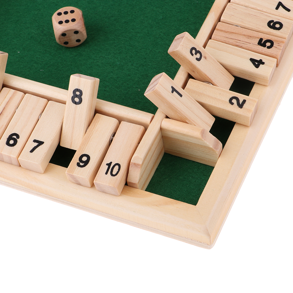 Magideal Wood Deluxe 4 Sided 10 Number Shut The Box Dice Board Game For Kids Adults Wooden Table Board Games Board Games Aliexpress