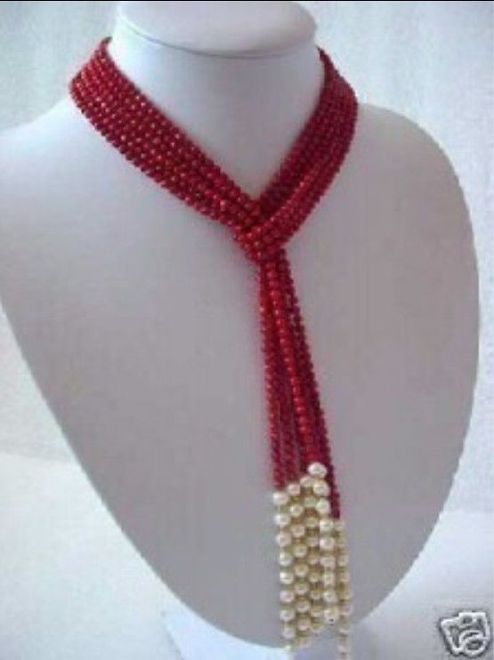 5MM Red Coral & White Pearl Scarf Necklace For Women Rope Chain Beads Jasper Jewelry Making Design Natural Stone (Mini Order1)(China (Mainland))
