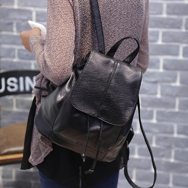 2016 Women Simple Style Backpack Fashion PU Leather Black School Bag for Girls Large Capacity Shoulder Travel Bag