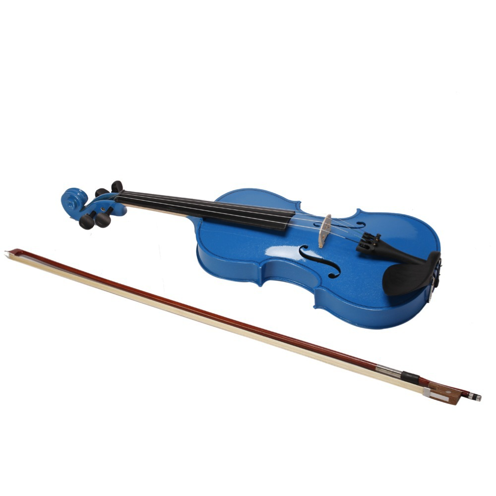 Blue Violin 4/4 1/4 3/4 1/2 1/8 Size Available Violin in Full Set with Bow Rosin and Case Colorful Violins Many Colors Available<br><br>Aliexpress
