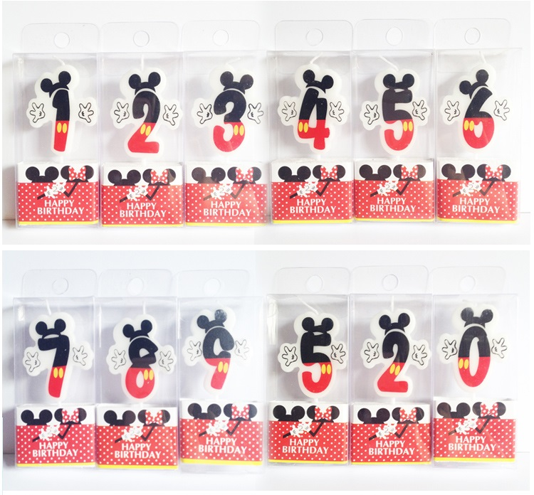 Birthday Candle Mickey Minnie Candle 0 1 2 3 4 5 6 7 8 9 Anniversary Cake Numbers Age Candle Party Supplies Decoration(China (Mainland))