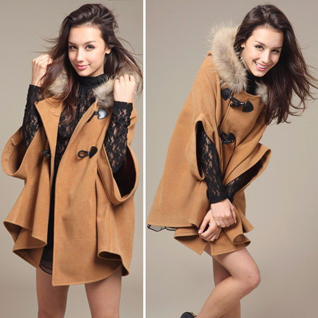 Faux Fur Shawl Wool Hooded Poncho