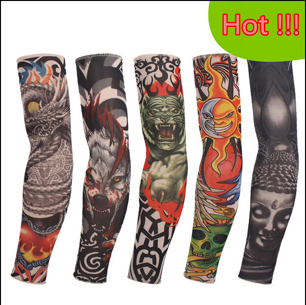 2pc=1pair fashion arm warmers tattoo arm sleeve warmer sleeves men Lady outdoor riding cycling gloves cuff 75-105 Punk Cool Fake(China (Mainland))