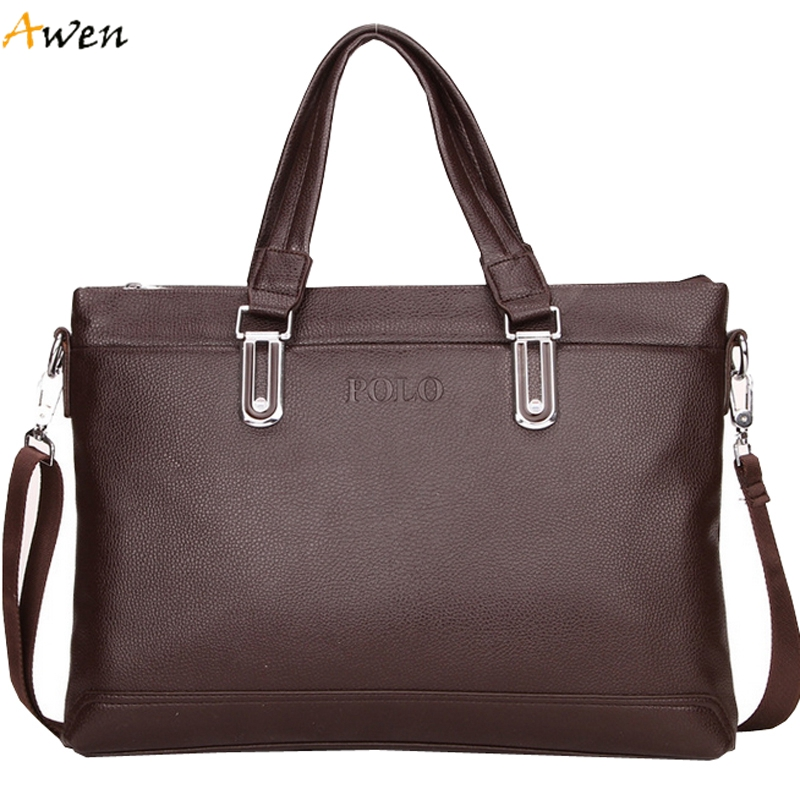 Awen - Simple Design Solid Large Men Leather Briefcase,Famous Brand Mens Leather Computer Bags Trendy Business Office Bag Man