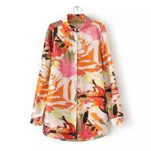 New Fashion Floral Printed Long Sleeve Blouse Lady Laple Plus Size Loose Autumn Long Shirts Women Tops Blusas YY006