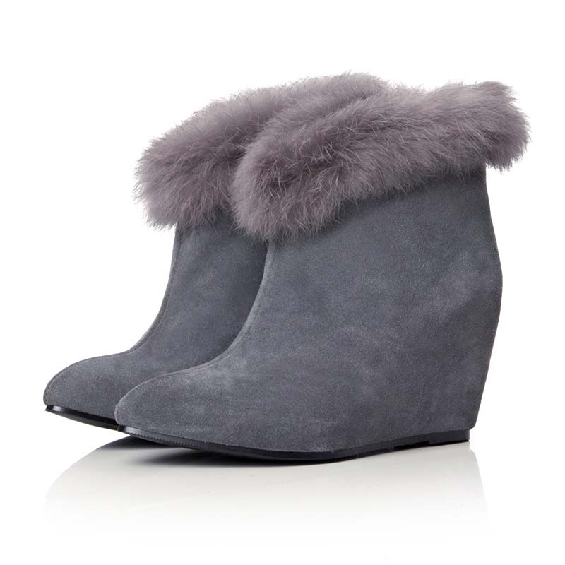 ENMAYER new Platform pumps Ankle boots for women wedges gray Warm Snow Boots High new fashion sexy women boots shoes hot  <br><br>Aliexpress