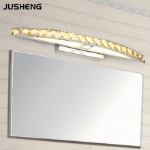 New Free Shipping 15W LED Crystal Mirror Wall Lamp Bathroom Lights 90-260V Stainless Sconces Indoor Crystal Lighting 54cm(China (Mainland))