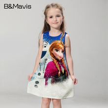 New Girls Dress Quuen Snow Anna Elsa Dresses Christmas Party Formal Dress For Girls Clothes 2016 Summer Children Clothing 2-10T(China (Mainland))
