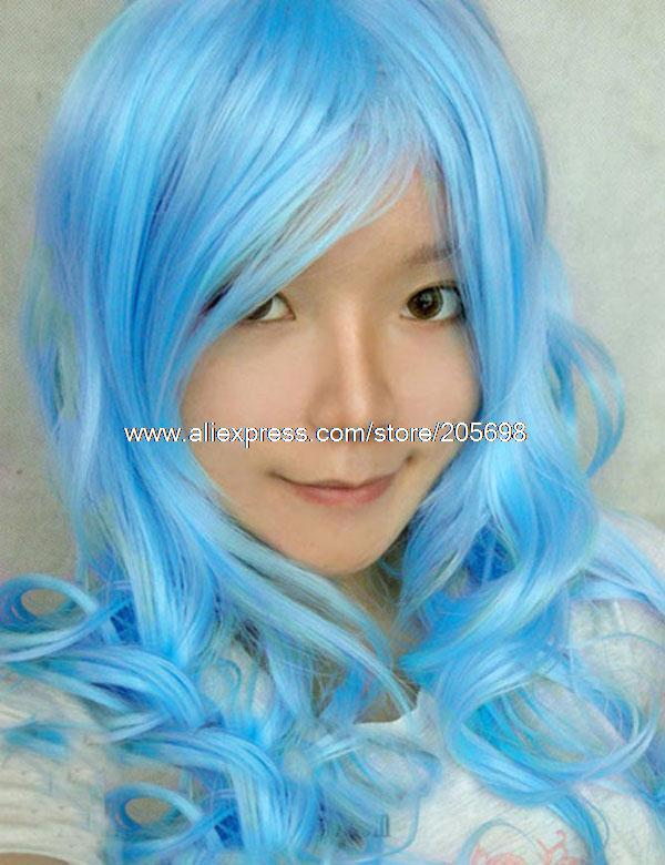 Гаджет  Water Blue Curly Long wig 80cm anime halloween christmas Free Shipping None Изготовление под заказ