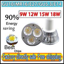 Factory directly sale CREE Bulb led bulb lamps GU10 E27 MR16 E14 GU5.3 9w 12W 15W 18W Dimmable led spotlight free shipping(China (Mainland))