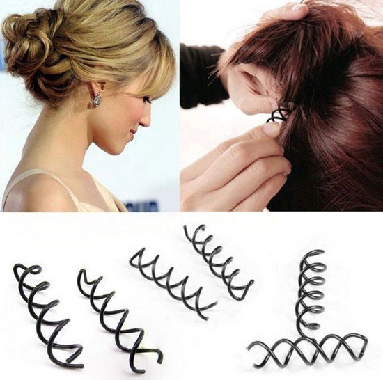 12 pcs\set Spiral Spin Screw Pin Hair Clip Hairpin Twist Barrette Black hair accessories Plate Made Tools Bridal jewelry(China (Mainland))