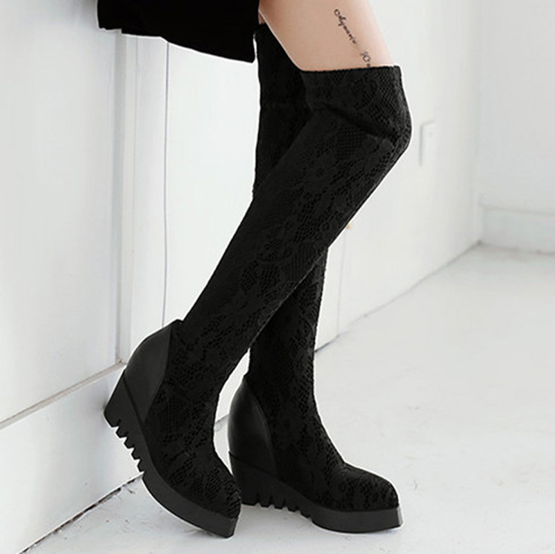 ENMAYER Over Knee Boots Pointed Toe sexy Korean Female High-Heeled Boots Long Snow Boots Women Winter Shoes Black  boots<br><br>Aliexpress