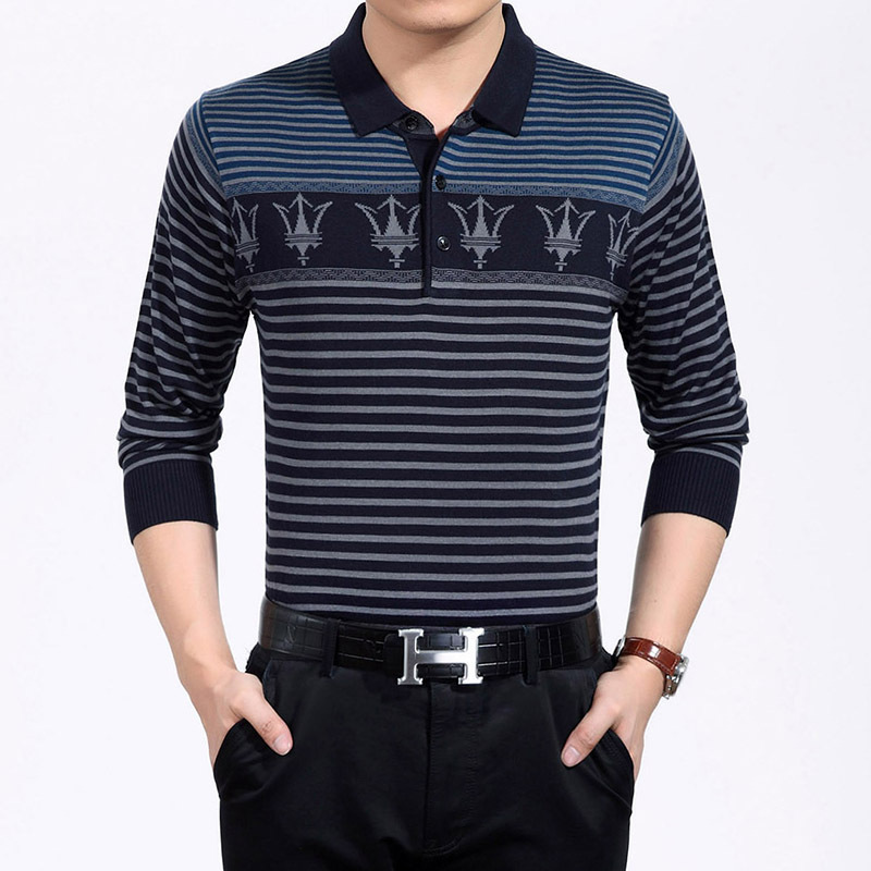 Long sleeve polo shirts men cotton thick print stripes for Thick long sleeve shirts