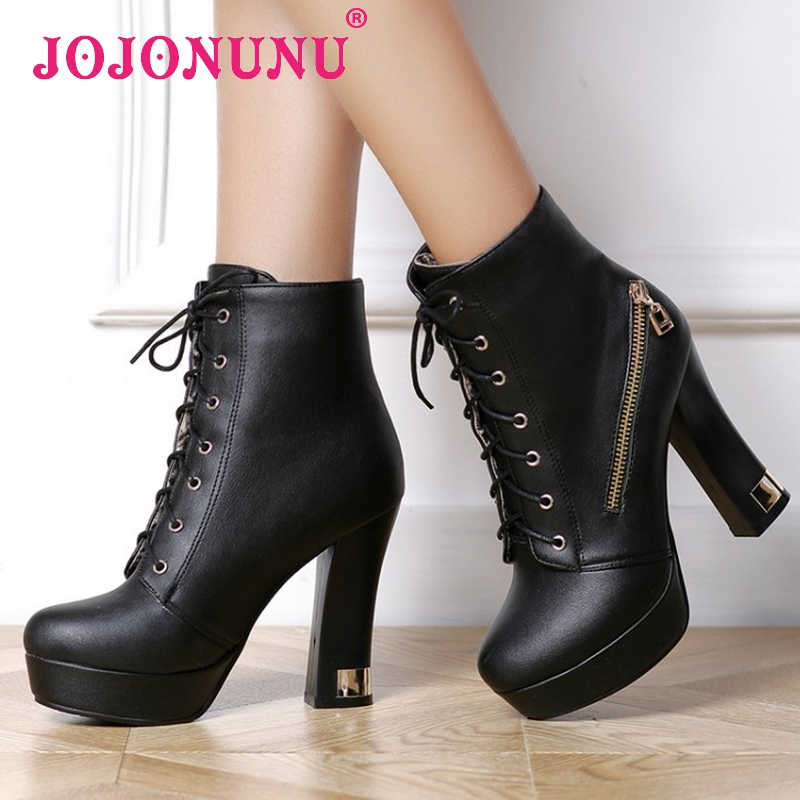 women martin high heel ankle boots platform half short botas autumn winter boot warm footwear heels shoes P20199 size 33-43