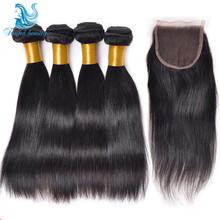 5Pcs/Lot Brazilian Virgin Hair Straight With Closure 7a Human Hair Bundles With Lace Closures Brazilian Hair Weave Bundles HC