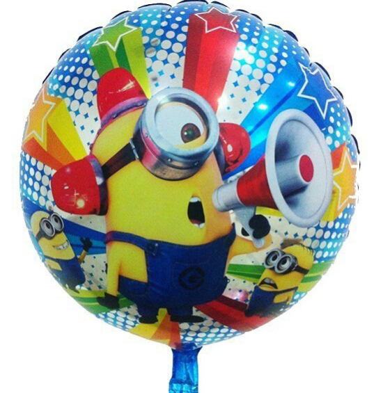 Free Shipping New Despicable Me Minions Foil Balloons Carton 18 Inch Round Mylar Helium Balloons for Birthday Gift(China (Mainland))