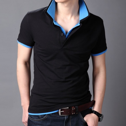 2016 new men's fashion casual double collar decorated polo shirts /male solid color cotton popular youth polo shirts(China (Mainland))