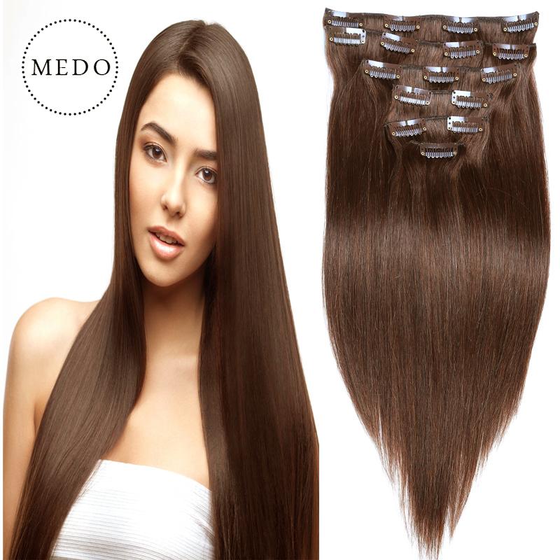 7A clip in human hair extensions Brazilian Virgin Hair Straight Full Thick Dark BrownRemy Clip In Human Hair Extensions 70g-220g<br><br>Aliexpress