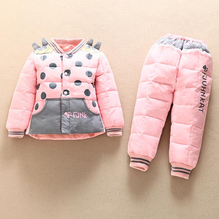 Childrens Clothing  2015 Children Down Coat Set Thicken Inner Container Kids Down Jacket + Bib Pants Winter Girls Baby Clothes<br><br>Aliexpress