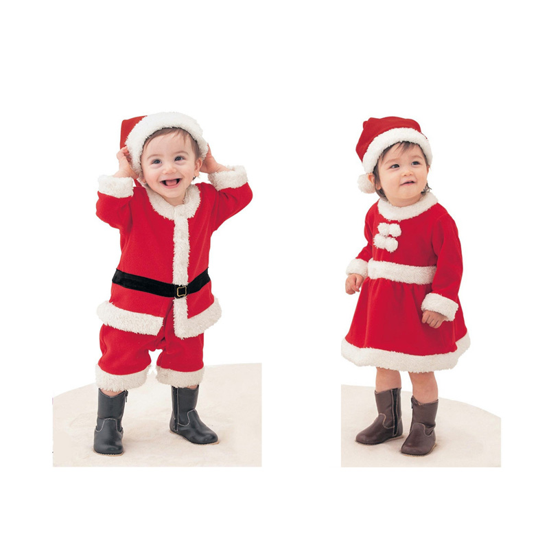 Baby Sets 2pcs Christmas Baby Clothes Santa Claus Clothes Kids Overalls Boys Rompers Girls Dresses Infant Party Jumpsuit V49(China (Mainland))