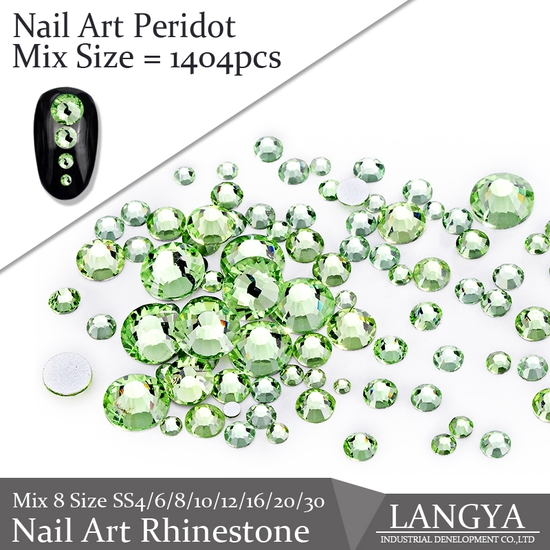 Glue On Flat Back 1404pcs Peridot Best Quality Non Hot Fix Glass Material Mix 8 Size Nail Art Rhinestones(Hong Kong)