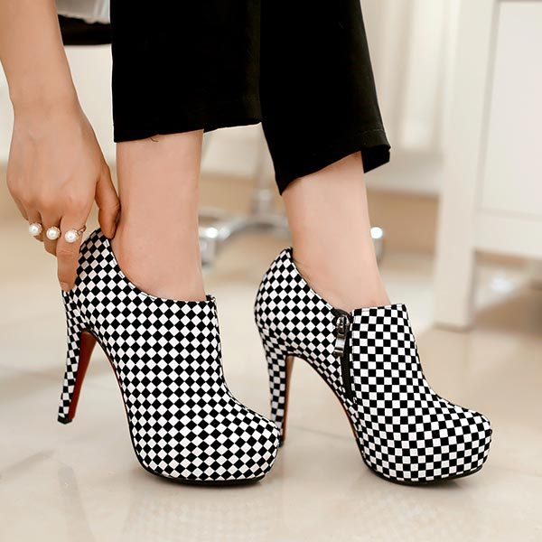 2014 Fashion Spring and Autumn Women Ankle Boots Fashion Platform High Heels Black and white Plaid Red Bottom Women Pumps C768<br><br>Aliexpress
