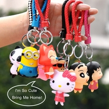 Cartoon Dolls Lovely Teddy Bear Kawaii Minions Crayon Shin Chan Figure Doll Toys Ornaments Keyring Chain For Kids And Friends