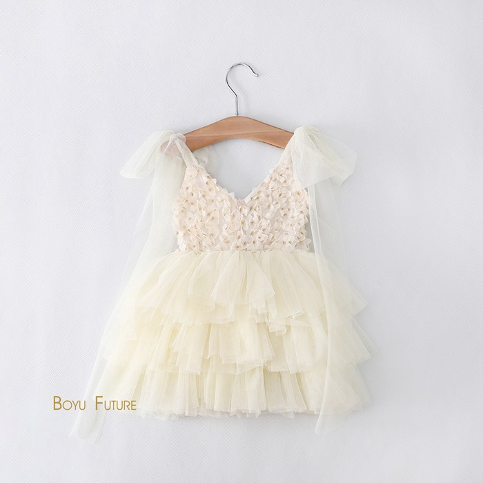 Summer Style Lace Suspenders Appliques Flowers Tutu Party Toddler Baby Girl Dress Wedding Girls Clothes Beige Pink White 2-6Y(China (Mainland))