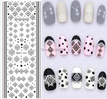 DS265 Дизайн Переброски Вод Ногтей Наклейки Зимний Стиль Черный Снежинка Ногтей Обертывания Наклейки Watermark Ногтей Наклейки(China (Mainland))