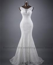De vraies photos livraison gratuite dentelle fleurs très Sexy backless sirène robes de mariée robes de noiva robe de mariage robe de bal(China (Mainland))