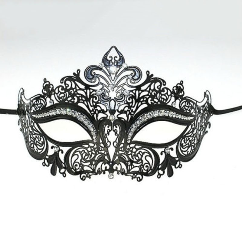 1 pcs masks End laser diamond metal mask classic black and white high-end diamond dance party supplies Not hurt the skin safety(China (Mainland))