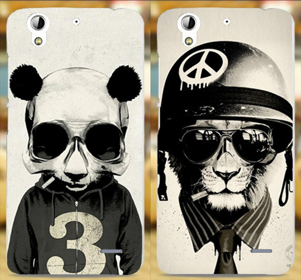 Black Panda Pattern Soldiers Cap Hat Cat with glasses mobile phone case for Huawei Ascend G630 Hard Plastic Back Cover Shell(China (Mainland))