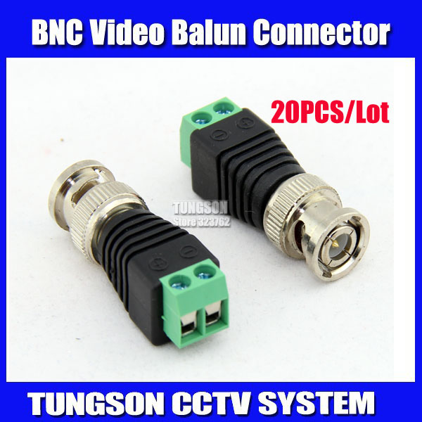20Pcs lot Mini Coax CAT5 To Camera CCTV BNC UTP Video Balun Connector Adapter BNC Plug For CCTV System. Free Shipping !!(China (Mainland))