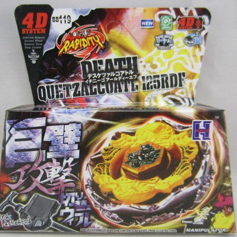 1 Pcs Beyblade Metal Fusion 4D Set DEATH QUETZALCOATL 125RDF+Launcher Kids Game Toys Children Christmas Gift BB119 Lct_033(China (Mainland))