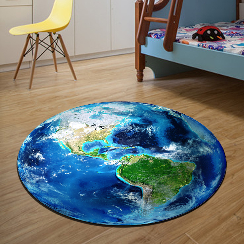 3D Earth Round Mat 80/100/120/160CM alfombras dormitorio Carpet Living Room Deurmat Dier rugs Swivel chair Mats tapis chambre(China (Mainland))