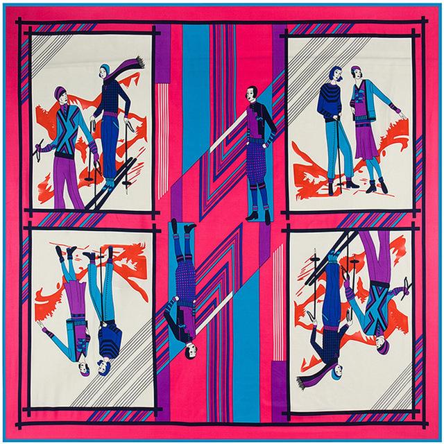 130 см * 130 см 100% чистого шелка евро фирменный стиль женщины сетки фигура зимние лыжи шелковая косынка Femal мода платки
