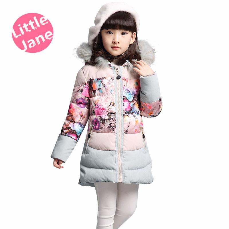 children clothing parka kids winter fashion princess floral print pink teenage girls faux fur hood korean style