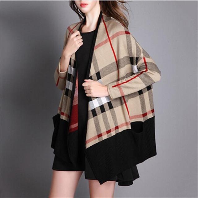 Batwing Sleeve Luxury Plaid Knitting Poncho Spring Long Sleeve Female Cardigans Women's Sweaters Designer Knitwear Coat Feminino(China (Mainland))