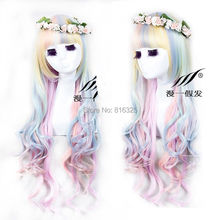 Wholesale DM32018 >New Lolita Harajuku Rainbow Colors Curly Wavy Long Hair Anime Cosplay Full Wig