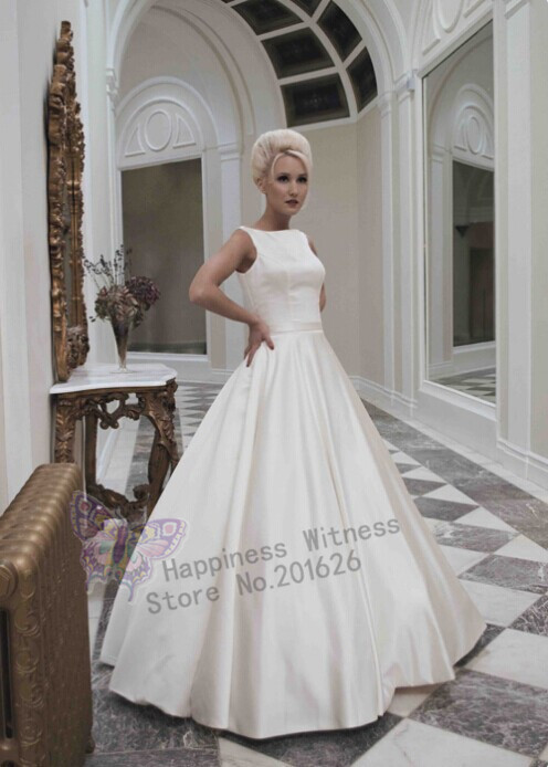 Vintage A-line Wedding Dress Scoop Tank galia lahav Sleeveless Floor Length vestidos de festa vestido longo bridal dresses