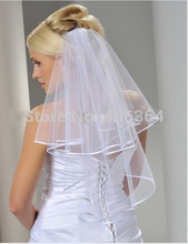 2015 Whole sale Simple White Tulle Wedding Veils Two Layer Ribbon Edge Custom Made Bridal Accesories Hot Sale(China (Mainland))