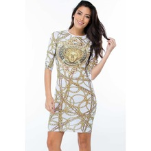 Buy new fashion 2015 summer women flower print dress Trendy Gold Chain casual style half knee mini dresses hot sale 22433 for $12.87 in AliExpress store